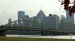 Pittsburgh Bridge and Skyline - stock footage