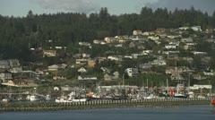 Newport Oregon Harbor and Hillside Homes - tele Stock Footage