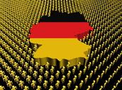 Germany map flag surrounded by many abstract people illustration Stock Illustration