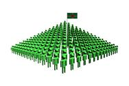 Pyramid of abstract people with dominica flag illustration Stock Illustration