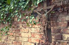 Crucifixion on the graveyard Stock Photos