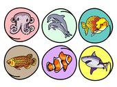 Stock Illustration of A Vector Set of Aquatic Animal on Round Background