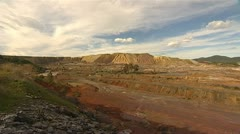 Wide shot of pit Mining - Rio Tinto - Spain Stock Footage