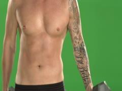Tattooed Man doing Curls on Green Screen Stock Footage