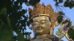 Buddha statue in Swayambhunath Stock Footage