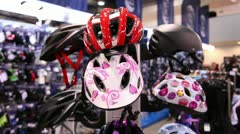 bicycle helmets 1 - stock footage