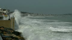 Waves Crashing on Seawall - stock footage