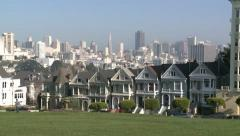 CITY OF SAN FRANCISCO ROW HOUSES AND SKYSCRAPERS HD 1080 STOCK VIDEO FOOTAGE Stock Footage