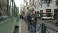 Stock Video Footage of people hurry for caught the tram (train) in rome - STEADYCAM