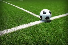 soccer football field stadium grass line ball background texture - stock photo