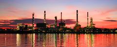 Refinery plant area at twilight panorama Stock Photos