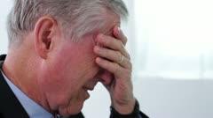 Senior Man Crisis Moment Close Up Handheld Stock Footage
