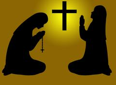 Praying nuns silhouette Stock Illustration