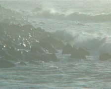 Waves breaking on rocks in South africa Stock Footage