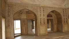 Palace interior in Agra fort - India Stock Footage