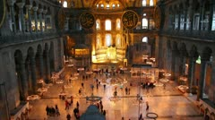 hagia sofia museum interior in istanbul turkey - stock footage