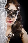 hiding bride, wedding decoration, fine-art portrait of elegant girl in veneti - stock photo