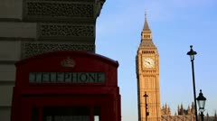 Big Ben and red London telephone box Stock Footage