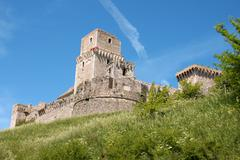 medieval castle of assisi (rocca maggiore) - stock photo