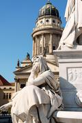 detail of the french dome and the monument to german poet friedrich schiller - stock photo