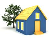 Stock Illustration of Small house with trees