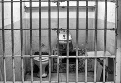Prison cell at alcatraz island cell block a Stock Photos