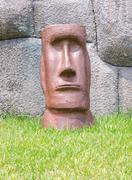face of moai stone rock sculpture - stock photo
