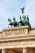 brandenburg gate and quadriga in Berlin - stock photo