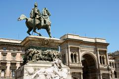 monument and galleria vittorio emanuele the 2nd - stock photo