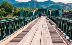 memorial bridge in pai city,mae hong son,thailand - stock photo