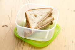 Stock Photo of ham sandwich in plastic box