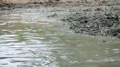 Impassable muddy road Stock Footage