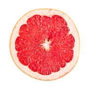 Sliced red grapefruit on white Stock Photos