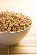 Soya beans in ceramic bowl Stock Photos