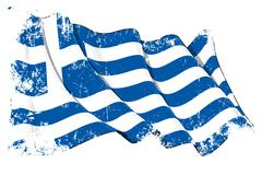 Grunge Flag of Greece - stock illustration