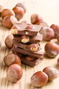 Stock Photo of tasty chocolate with hazelnuts
