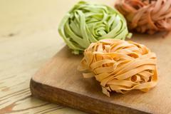 Colorful pasta tagliatelle Stock Photos