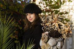 beautiful girl in a autumn seasonal setting - stock photo