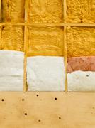 wall insulation to save heating energy - stock photo