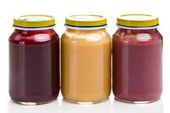 baby food in glass jar - stock photo