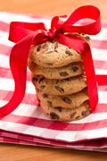 Stock Photo of chocolate cookies with red ribbon