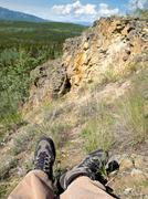 Hiking in boreal forest of yukon territory, canada Stock Photos