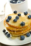 tasty pancakes with blueberries - stock photo