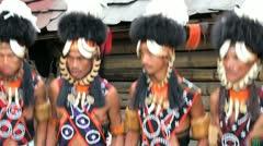 Chang tribesmen dancing, Nagaland, India Stock Footage