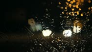 Stock Video Footage of Night road, rain on windshield, bokeh 031