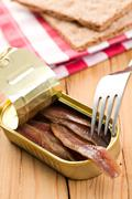 anchovies fillets in tin can - stock photo