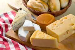 still life with cheeses - stock photo