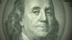 American Currency - Benjamin Franklin on the $100 bill Stock Footage