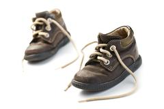 kid's leather shoes - stock photo