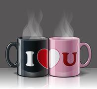 I Love U Mags Black & Pink Stock Illustration